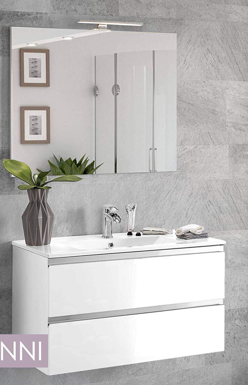 . Dafnedesign com   Mobile da bagno con lavabo   Componibile bagno 2 cassetti  con maniglia a gola  lavabo e specchio con luce a Led cm  80 x 46 x 51h