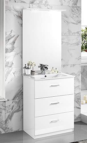 Dafnedesign.com - Mobile da bagno con lavabo - Con maniglie cromate,  specchio e lavabo. cm. 62 x 47 x 195h. Mobili di altissima qualità. (STMB)