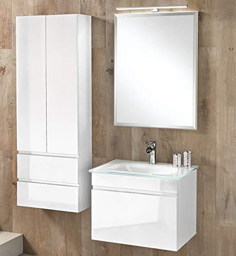 Mobile da bagno con lavabo sospeso - Componibile bagno sospeso 1 anta a  ribalta con maniglia a gola, specchio e lavabo in vetro. cm. 61 x 47 x  190h. ...