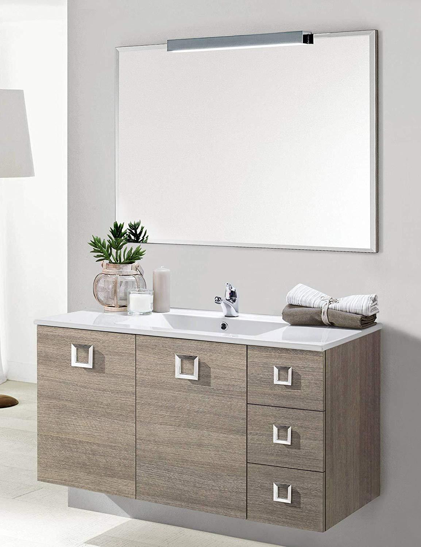 Dafnedesign.com - Mobile da bagno con lavabo sospeso - Componibile bagno  sospeso 2 ante e 3 cassetti con maniglie cromate, lavabo in ceramica e ...