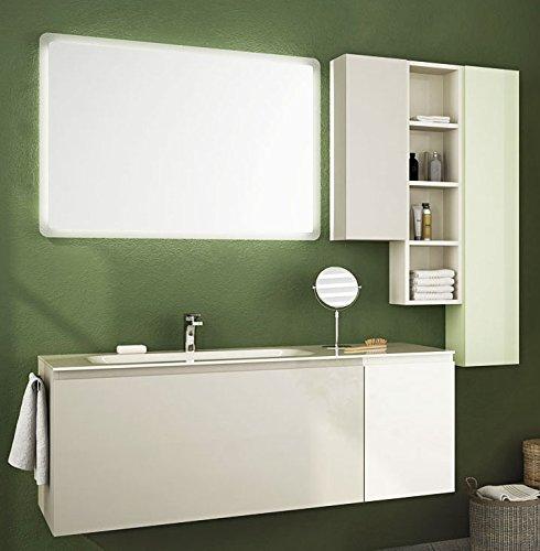 Dafnedesign.com - Mobile da bagno top in vetro, lavabo a vista e ante e  cassetti grigio, bianco, verde chiaro con specchio con luci a led come da  foto ...