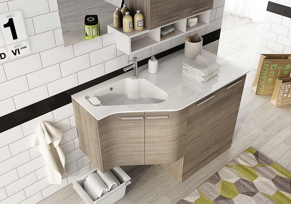 Mobile lavanderia porta lavatrice asciugatrice e carrelli cesti bucato - Mobile lavatrice asciugatrice ...