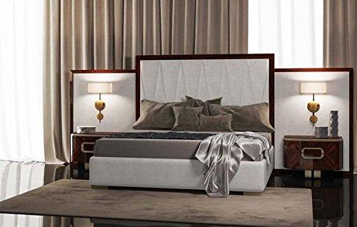 Pannello laterale destro e sinistro per testata letto matrimoniale, colore  bianco, rifinitura in legno Palissandro, H.140 X P.6 X L.100, 12 Kg, ...