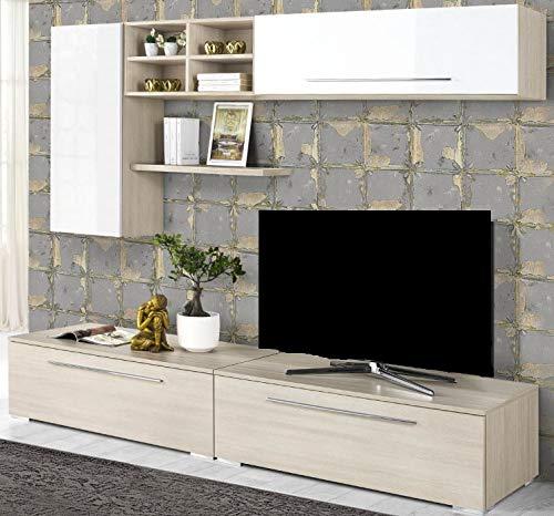 Dafnedesign.com – Parete componibile per soggiorno - Colore: bianco ...