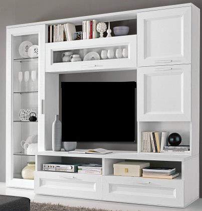 Parete componibile per soggiorno colore bianco larice soggiorno parete - Parete attrezzata per soggiorno ...