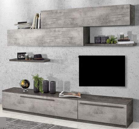 Dafnedesign.com – Parete componibile per soggiorno - Colore: cemento ...
