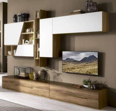 Parete componibile per soggiorno - Colore: noce e bianco opaco - Soggiorno  con pensile lungo a destra, composto da una base con ampi casettoni e ...