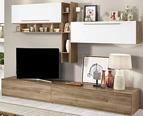 Parete componibile per soggiorno - Colore: noce e bianco opaco - effetto  noce, bianco opaco Soggiorno composto da una base con 2 comodi cassettoni  di ...
