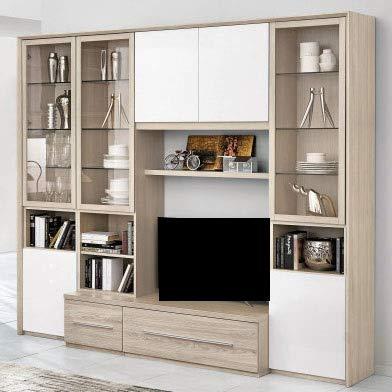 Parete componibile per soggiorno - Colore: olmo e bianco lucido -  Soggiorno. Composizione composta dalla combinazione di vetrine, ante,  cassetti e ...