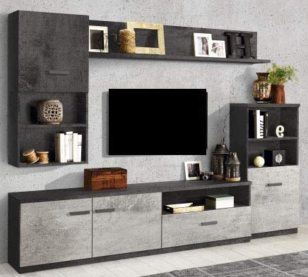 Parete componibile per soggiorno - Colore: ossido e cemento - Soggiorno con  colonna a destra capace di combinare vani a giorno, mensole e spazi ...