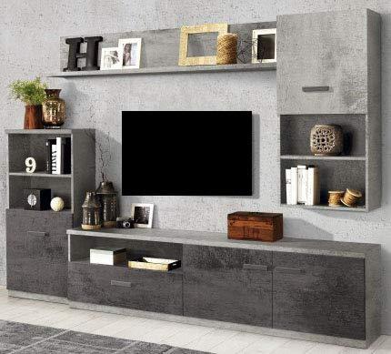 Parete componibile per soggiorno - Colore: ossido e cemento - Soggiorno con  colonna a sinistra capace di combinare vani a giorno, mensole e spazi ...