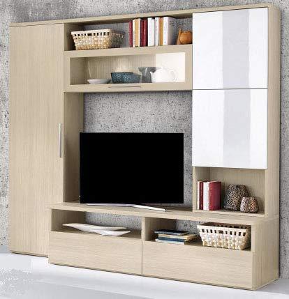 Parete componibile per soggiorno - Colore: pino chiaro e bianco laccato -  cm. 300 x 58 x 210h - (STP)