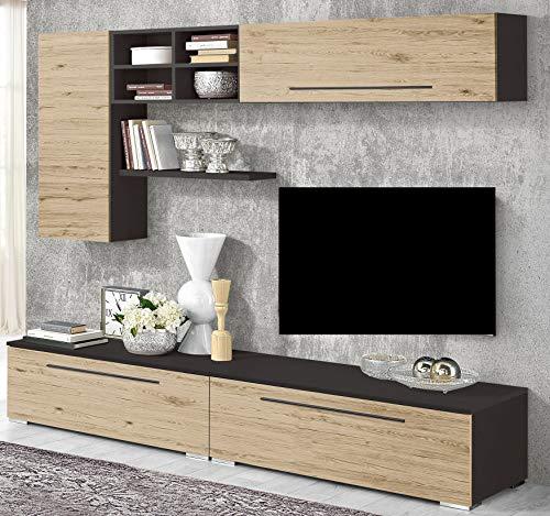 Parete componibile per soggiorno - Colore: piombo e quercia bianca -  Composizione essenziale e pratica grazie ai suoi pensili e alle mensole  porta ...