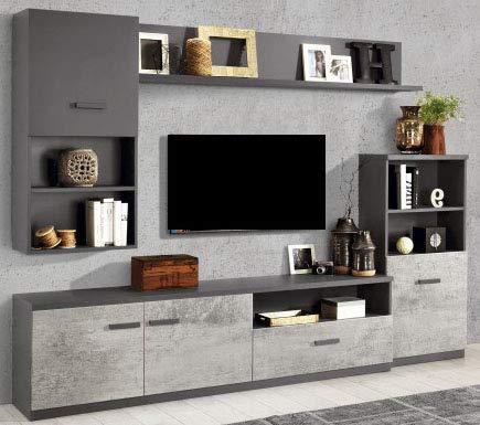Parete componibile per soggiorno - Colore: titanio e cemento - Soggiorno  con colonna a destra capace di combinare vani a giorno, mensole e spazi ...