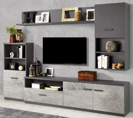 Parete componibile per soggiorno - Colore: titanio e cemento ...
