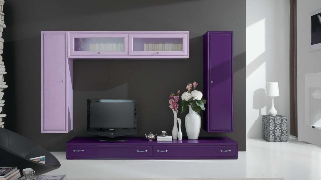 Color Prugna Per Pareti : Dafnedesign.com u2013 parete componibile per soggiorno colore lilla e