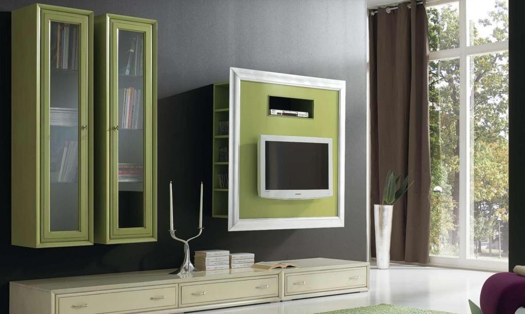Parete componibile per soggiorno, pensili vintage verde, Porta-tv vintage  verde con cornice foglia argento, basi vintage avorio, H. 220 x P.62 x ...