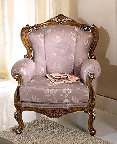 Poltrona per soggiorno e salotto, colore legno scuro, , colore grigio malva  chiaro – Dimensioni: 82 cm – 85 cm – H 101 cm – 0,60 Mc – Stile ...