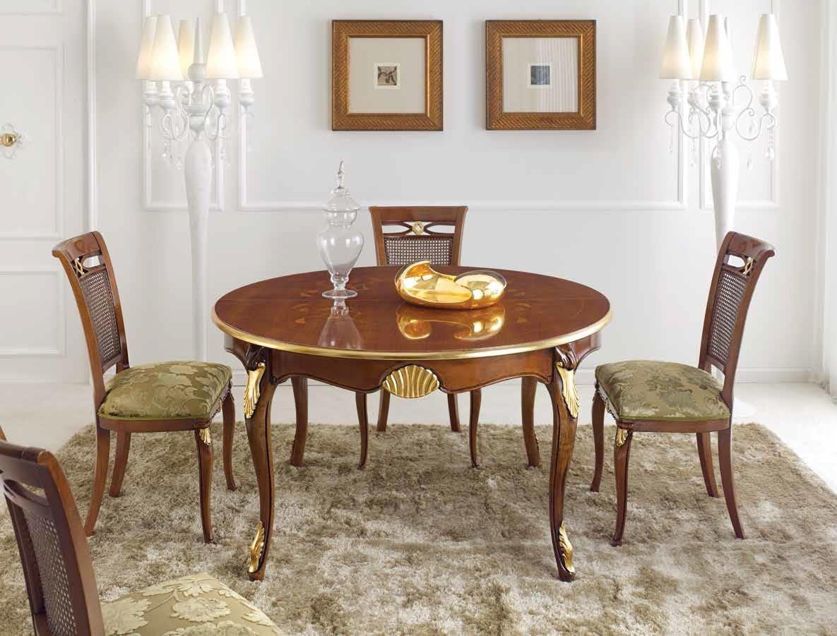 Dimensioni Tavolo Sala Da Pranzo set sala da pranzo e soggiorno, composto da 1 tavolo rotondo, colore legno  scuro con decorazioni oro - dimensioni Ø 140 cm (allungabile 100 cm) – h 79