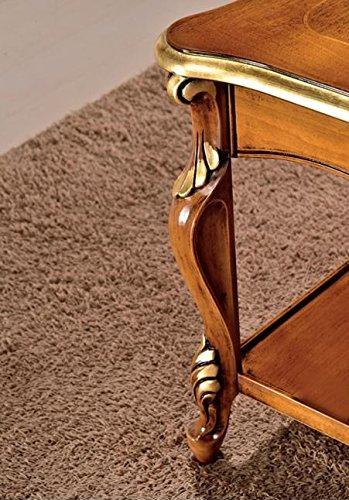 Side Table Donker Hout.Dafnedesign Com Tavolino Da Soggiorno Con Vano Porta Riviste Colore Legno Scuro Decorazioni Oro Dimensioni Lunghezza 130 Cm Profondita 80