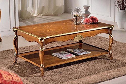 Tavolino da soggiorno con vano porta riviste, colore legno scuro,  decorazioni oro - Dimensioni: 130 cm - 80 cm - H 55 cm – 0,65 Mc – Stile  classico ...