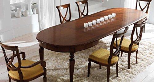 Tavolo ovale allungabile da soggiorno e sala da pranzo, colore legno ...