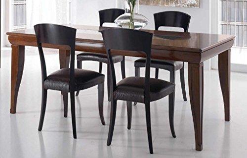Tavolo rettangolare allungabile da soggiorno e sala da pranzo, colore legno  scuro, piano traforato, 195 X 95 + ALL. 75, 98 Kg, 0.35 Mc/M³, n. colli ...
