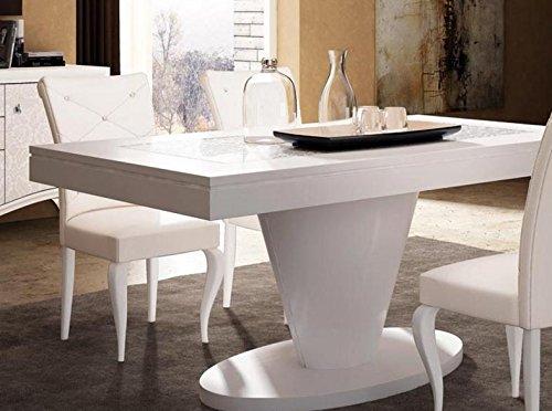 Tavolo rettangolare allungabile da soggiorno e sala da pranzo, laccato  bianco, con inserto vetro texture, P. 100 X L. 190 – ALL. 75, 100 Kg, 0,70  ...