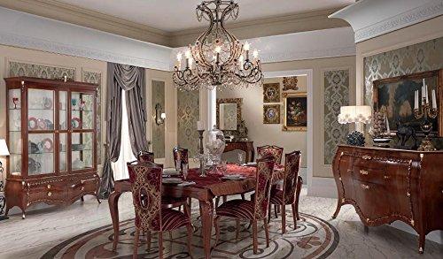 Tavolo rettangolare da soggiorno e sala da pranzo, colore legno scuro,  decorazione con foglia oro, chiuso 190x100, aperto 265x100, H. 78, 95 Kg,  ...