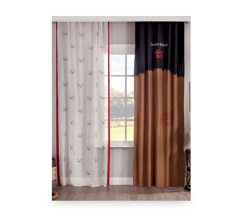 Rideaux Design Pour Chambre dafnedesign - tenda da cameretta per ragazzo o bambino - con due cadute  - 140xh. 260 cm - [serie: dafne-pirata] - (df11)