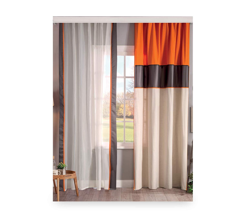 Tenda per cameretta da bambino o ragazzo - Tenda dai colori eleganti  bianco, nero e arancione - Si abbina ad una camera da letto con  confortevole ...