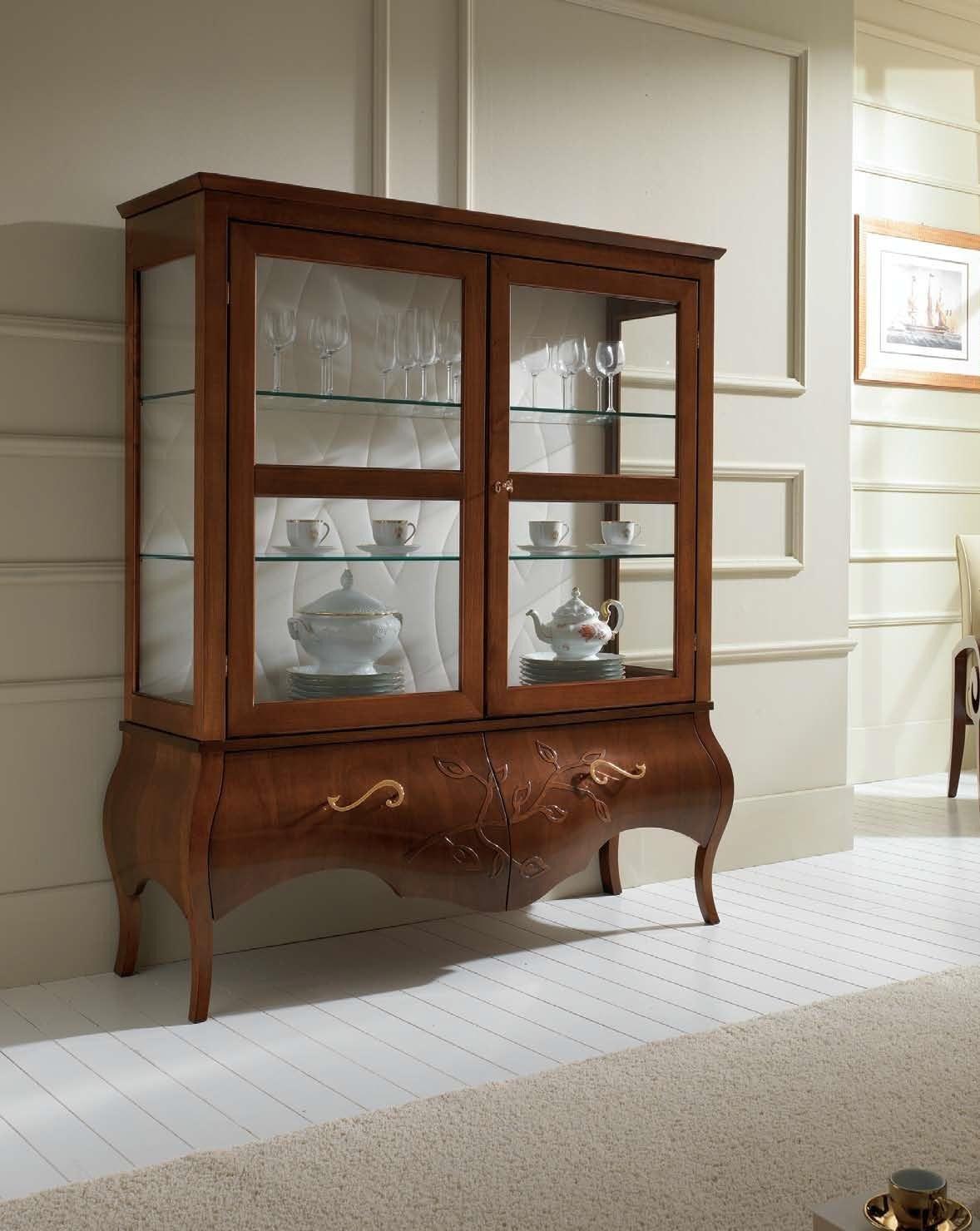 Dafnedesign.com - Vetrinetta 2 ante, colore legno scuro, decorazione ...