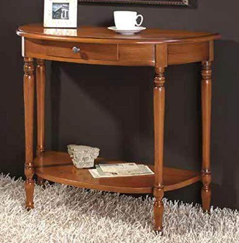 1 Konsol dengan rak, satu laci, warna kayu gelap - Dimensi: 80 panjang cm - cm kedalaman 38 - cm tinggi 72 - 0,25 Mc - Gaya klasik ...