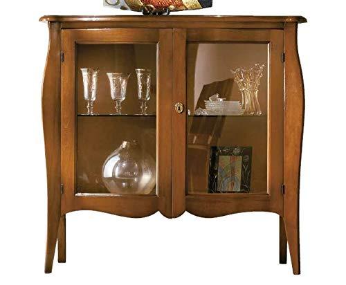 1 Kabinet kecil, dua pintu dengan rak kaca, warna kayu gelap - Dimensi: Panjang 107 cm - cm kedalaman 46 - cm tinggi 102 - 0,58 Mc - Gaya ...