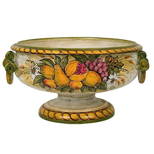 fruttiera centro tavola con manici a torciglioni in ceramica ... - Incanto Arredo Bagno