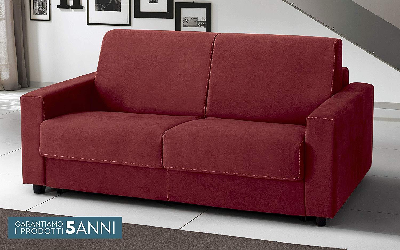 Divano Letto 3 posti - cm. 204 x 95 x 90h - Colore: Rosso Scamosciato -