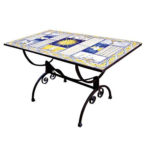 Tavolo Rettangolare In Ferro Battuto E Mattonelle In Ceramica Artistica Di Castelli Decorata A Mano Tavolo Da Salotto Da Giardino Da Cucina